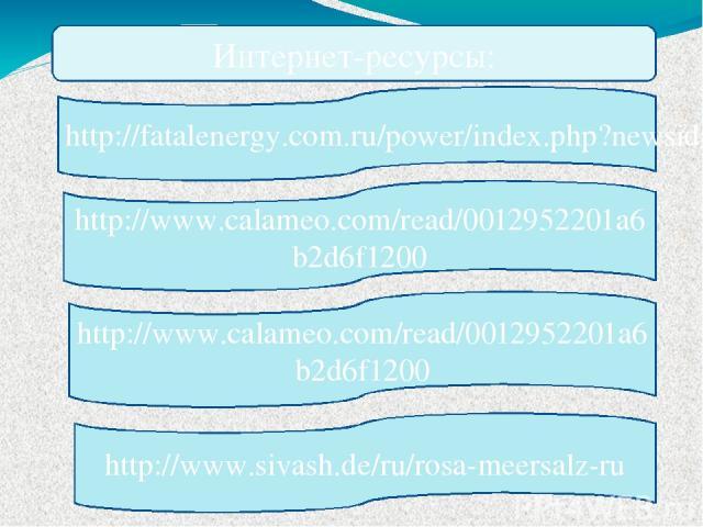 Интернет-ресурсы: http://www.calameo.com/read/0012952201a6b2d6f1200 http://www.calameo.com/read/0012952201a6b2d6f1200 http://www.sivash.de/ru/rosa-meersalz-ru http://fatalenergy.com.ru/power/index.php?newsid=1246483390