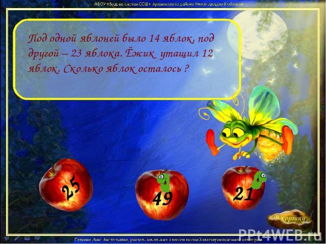 Под одной яблоней было 14 яблок, под другой – 23 яблока. Ёжик утащил 12 яблок. Сколько яблок осталось ?