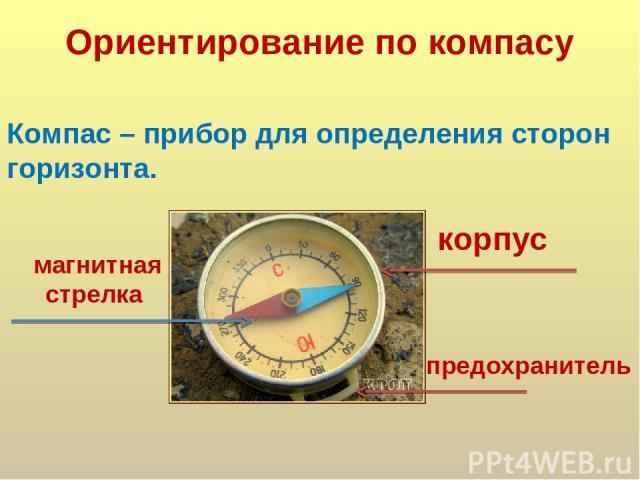 Ориентирование по компасу Компас – прибор для определения сторон горизонта. предохранитель магнитная стрелка корпус