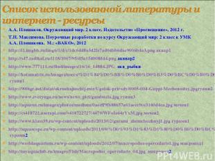 А.А. Плешаков. Окружающий мир. 2 класс. Издательство «Просвещение», 2012 г. Т.Н.
