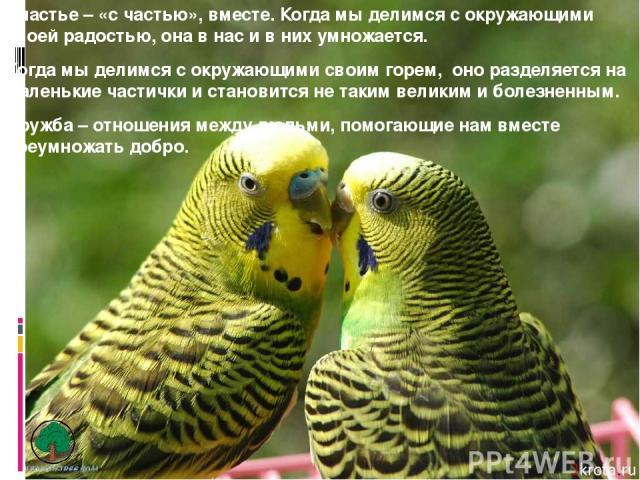 Счастье – «с частью», вместе. Когда мы делимся с окружающими своей радостью, она в нас и в них умножается. Когда мы делимся с окружающими своим горем, оно разделяется на маленькие частички и становится не таким великим и болезненным. Дружба – отноше…