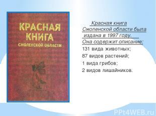 Красная книга Смоленской области была издана в 1997 году. Она содержит описание: