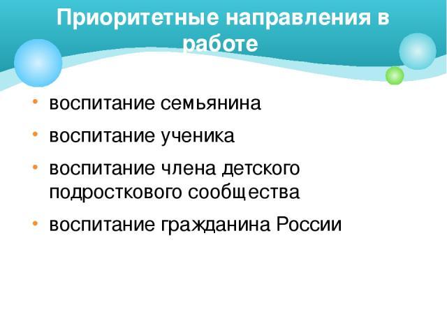 воспитание семьянина воспитание ученика воспитание члена детского подросткового сообщества воспитание гражданина России Приоритетные направления в работе