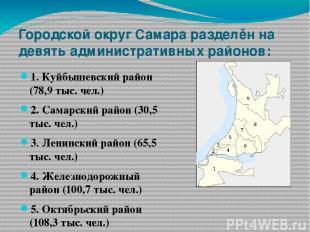 Городской округ Самара разделён на девять административных районов: 1. Куйбышевс