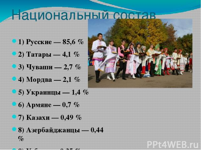 Национальный состав 1) Русские — 85,6 % 2) Татары — 4,1 % 3) Чуваши — 2,7 % 4) Мордва — 2,1 % 5) Украинцы — 1,4 % 6) Армяне — 0,7 % 7) Казахи — 0,49 % 8) Азербайджанцы — 0,44 % 9) Узбеки — 0,35 % 10) Белорусы — 0,29 %