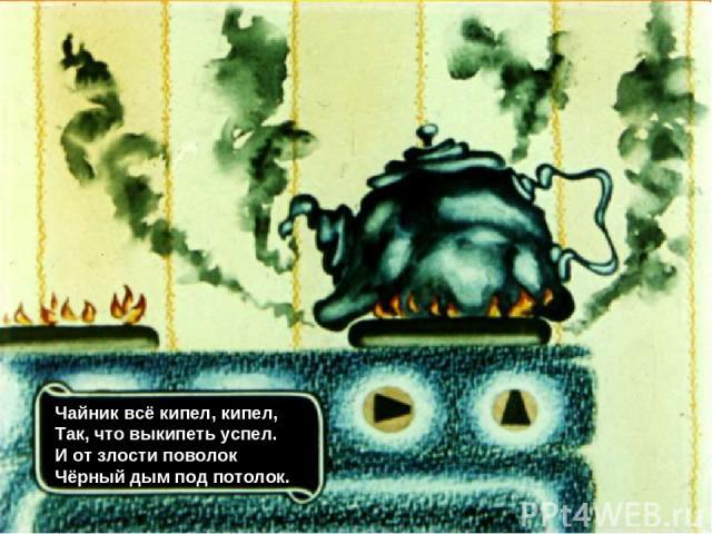 Чайник всё кипел, кипел, Так, что выкипеть успел. И от злости поволок Чёрный дым под потолок.