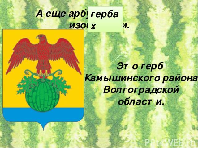 А еще арбуз на изобразили. гербах Это герб Камышинского района Волгоградской области.