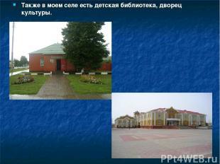 Также в моем селе есть детская библиотека, дворец культуры.