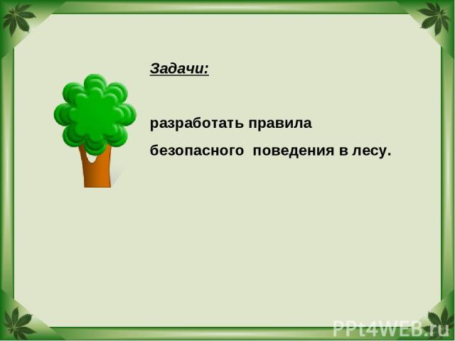 Задачи: разработать правила безопасного поведения в лесу.
