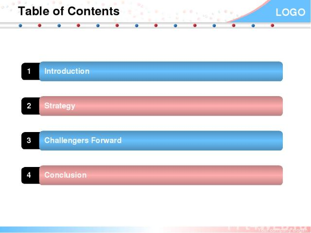 Table of Contents 1 Introduction 2 Strategy 3 Challengers Forward 4 Conclusion Your company slogan LOGO