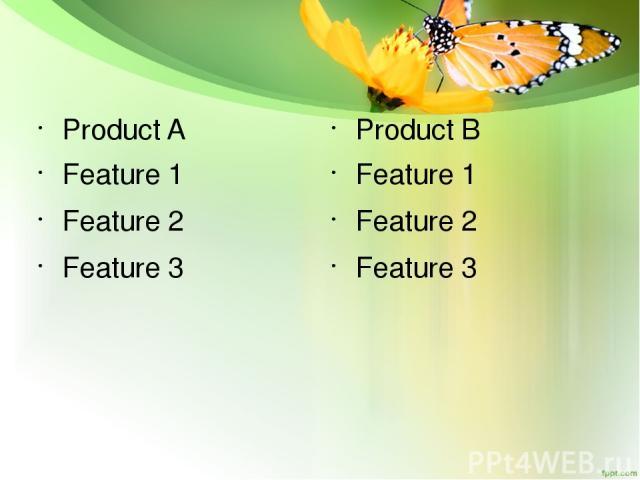 Product A Feature 1 Feature 2 Feature 3 Product B Feature 1 Feature 2 Feature 3