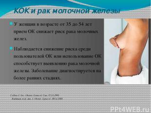 КOК и рак молочной железы У женщин в возрасте от 35 дo 54 лет прием OК снижает р