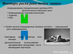 Факторы риска рака шейки матки Инфицирование определенными группами ВПЧ. Дополни