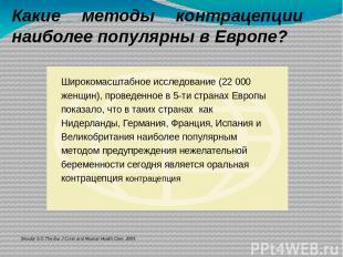 Какие методы контрацепции наиболее популярны в Европе? Skouby S.O.The Eur J Cont