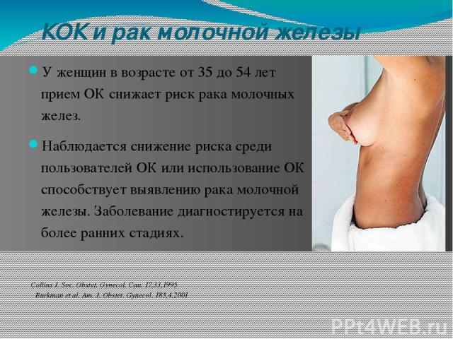 КOК и рак молочной железы У женщин в возрасте от 35 дo 54 лет прием OК снижает риск рака молочных желез. Наблюдается снижение риска среди пользователей ОК или использование ОК способствует выявлению рака молочной железы. Заболевание диагностируется …
