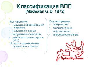 Классификация ВПП [MacEwen G.D. 1972] Вид нарушения: нарушения формирования позв