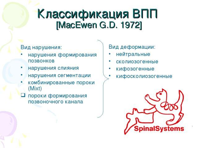 Классификация ВПП [MacEwen G.D. 1972] Вид нарушения: нарушения формирования позвонков нарушения слияния нарушения сегментации комбинированные пороки (Mixt) пороки формирования позвоночного канала Вид деформации: нейтральные сколиозогенные кифозогенн…