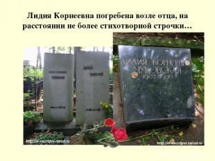 Лидия Корнеевна погребена возле отца, на расстоянии не более стихотворной строчк