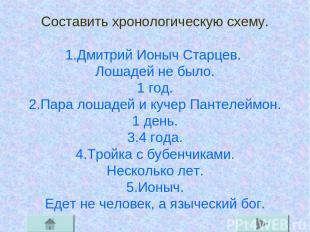 Составить хронологическую схему. 1.Дмитрий Ионыч Старцев. Лошадей не было. 1 год