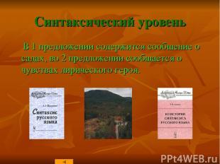 Синтаксический уровень В 1 предложении содержится сообщение о садах, во 2 предло