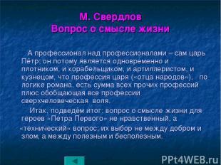 М. Свердлов Вопрос о смысле жизни А профессионал над профессионалами – сам царь