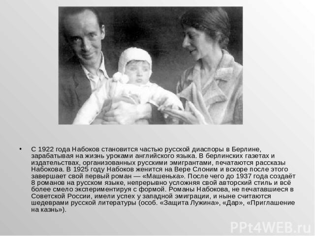 С 1922 года Набоков становится частью русской диаспоры в Берлине, зарабатывая на жизнь уроками английского языка. В берлинских газетах и издательствах, организованных русскими эмигрантами, печатаются рассказы Набокова. В 1925году Набоков женится на…