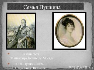 Семья Пушкина Г.Кампельон Миниатюра Ксавье де Местра. С.Л. Пушкин. 1824. Н.О. Пу