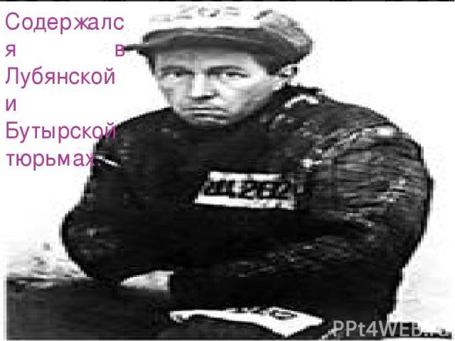 Содержался в Лубянской и Бутырской тюрьмах.