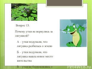 Вопрос 13. Почему утки не вернулись за лягушкой? А – утки подумали, что лягушка