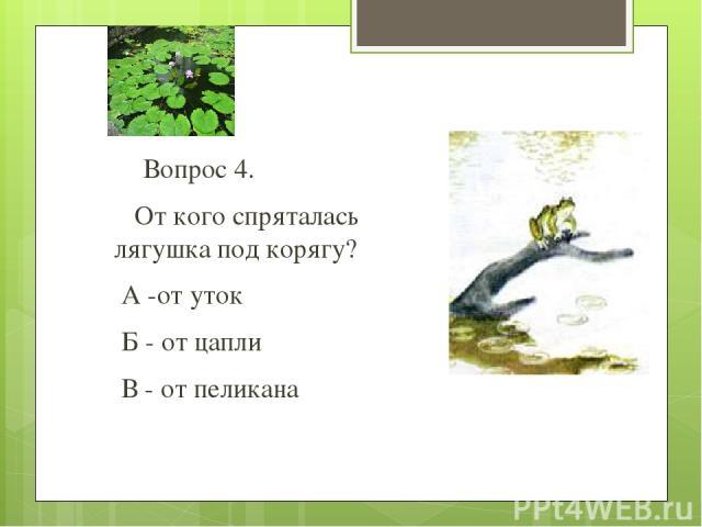 Вопрос 4. От кого спряталась лягушка под корягу? А -от уток Б - от цапли В - от пеликана
