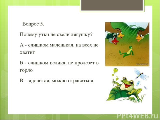 Вопрос 5. Почему утки не съели лягушку? А - слишком маленькая, на всех не хватит Б - слишком велика, не пролезет в горло В – ядовитая, можно отравиться