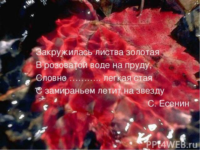 Закружилась листва золотая В розоватой воде на пруду, Словно ……….. легкая стая С замираньем летит на звезду С. Есенин