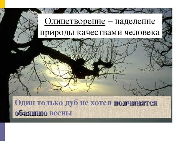 Олицетворение – наделение природы качествами человека Один только дуб не хотел подчинятся обаянию весны