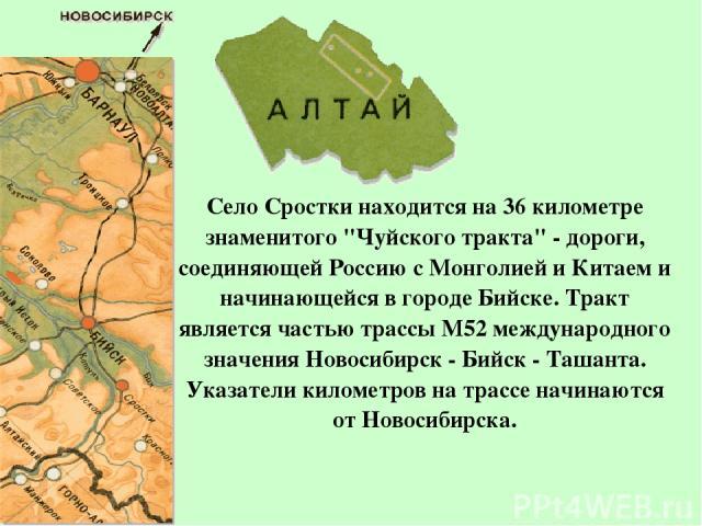 Село Сростки находится на 36 километре знаменитого