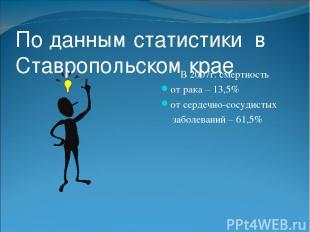 По данным статистики в Ставропольском крае В 2007г. смертность от рака – 13,5% о