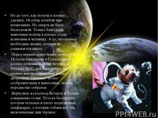 Но до того, как полеты в космос удались, 18 собак погибли при испытаниях. Их сме