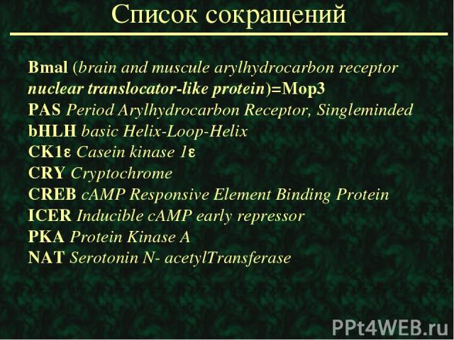Список сокращений Bmal (brain and muscule arylhydrocarbon receptor nuclear translocator-like protein)=Mop3 PAS Period Arylhydrocarbon Receptor, Singleminded bHLH basic Helix-Loop-Helix CK1e Casein kinase 1e CRY Cryptochrome CREB cAMP Responsive Elem…