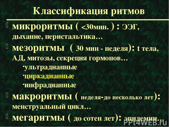 Классификация ритмов микроритмы (