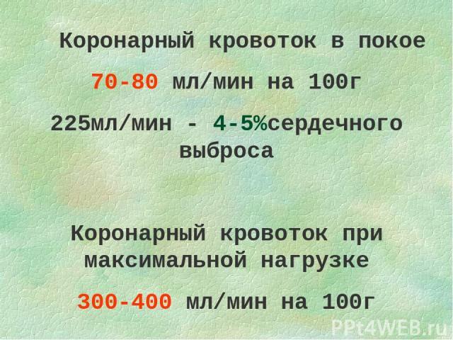 Коронарный кровоток в покое 70-80 мл/мин на 100г 225мл/мин - 4-5%сердечного выброса Коронарный кровоток при максимальной нагрузке 300-400 мл/мин на 100г