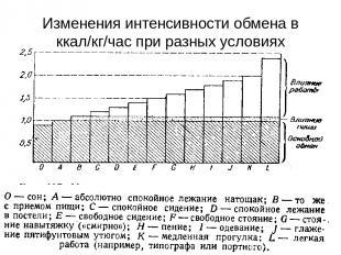 Изменения интенсивности обмена в ккал/кг/час при разных условиях