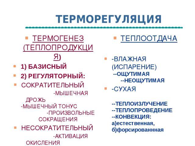 ТЕРМОРЕГУЛЯЦИЯ ТЕРМОГЕНЕЗ (ТЕПЛОПРОДУКЦИЯ) 1) БАЗИСНЫЙ 2) РЕГУЛЯТОРНЫЙ: СОКРАТИТЕЛЬНЫЙ -МЫШЕЧНАЯ ДРОЖЬ -МЫШЕЧНЫЙ ТОНУС -ПРОИЗВОЛЬНЫЕ СОКРАЩЕНИЯ НЕСОКРАТИТЕЛЬНЫЙ -АКТИВАЦИЯ ОКИСЛЕНИЯ -РАЗОБЩЕНИЕ ОКИСЛЕНИЯ И ФОСОРИЛИРОВАНИЯ ТЕПЛООТДАЧА -ВЛАЖНАЯ (ИСПАР…