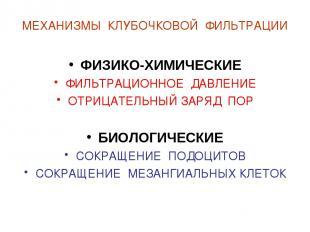 МЕХАНИЗМЫ КЛУБОЧКОВОЙ ФИЛЬТРАЦИИ ФИЗИКО-ХИМИЧЕСКИЕ ФИЛЬТРАЦИОННОЕ ДАВЛЕНИЕ ОТРИЦ