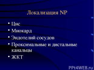 Локализация NP Цнс Миокард Эндотелий сосудов Проксимальные и дистальные канальцы