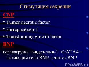 Стимуляция секреции CNP Tumor necrotic factor Интерлейкин-1 Transforming growth