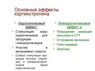 Основные эффекты кортикотропина Надпочечниковый эффект Стимуляция коры надпочечн