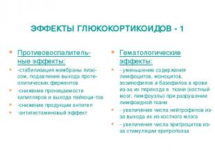 ЭФФЕКТЫ ГЛЮКОКОРТИКОИДОВ - 1 Противовоспалитель-ные эффекты: -стабилизация мембр