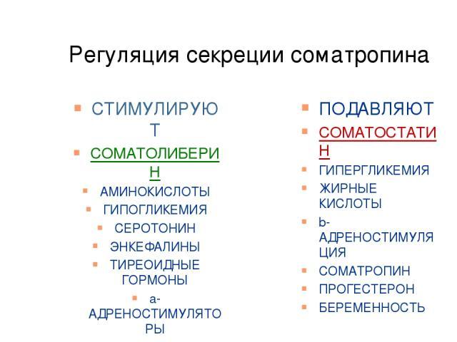 Регуляция секреции соматропина СТИМУЛИРУЮТ СОМАТОЛИБЕРИН АМИНОКИСЛОТЫ ГИПОГЛИКЕМИЯ СЕРОТОНИН ЭНКЕФАЛИНЫ ТИРЕОИДНЫЕ ГОРМОНЫ а-АДРЕНОСТИМУЛЯТОРЫ КОРТИЗОЛ СТРЕСС ЭСТРОГЕНЫ ПОДАВЛЯЮТ СОМАТОСТАТИН ГИПЕРГЛИКЕМИЯ ЖИРНЫЕ КИСЛОТЫ b-АДРЕНОСТИМУЛЯЦИЯ СОМАТРОПИ…