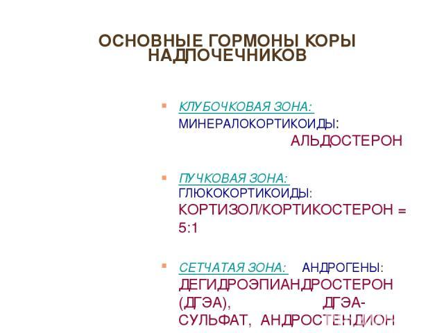 ОСНОВНЫЕ ГОРМОНЫ КОРЫ НАДПОЧЕЧНИКОВ КЛУБОЧКОВАЯ ЗОНА: МИНЕРАЛОКОРТИКОИДЫ: АЛЬДОСТЕРОН ПУЧКОВАЯ ЗОНА: ГЛЮКОКОРТИКОИДЫ: КОРТИЗОЛ/КОРТИКОСТЕРОН = 5:1 СЕТЧАТАЯ ЗОНА: АНДРОГЕНЫ: ДЕГИДРОЭПИАНДРОСТЕРОН (ДГЭА), ДГЭА-СУЛЬФАТ, АНДРОСТЕНДИОН