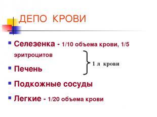 ДЕПО КРОВИ Селезенка - 1/10 объема крови, 1/5 эритроцитов Печень Подкожные сосуд