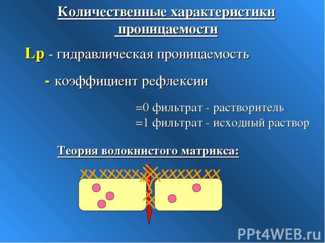 Lp - гидравлическая проницаемость σ - коэффициент рефлексии σ =0 фильтрат - растворитель σ =1 фильтрат - исходный раствор Количественные характеристики проницаемости Теория волокнистого матрикса: